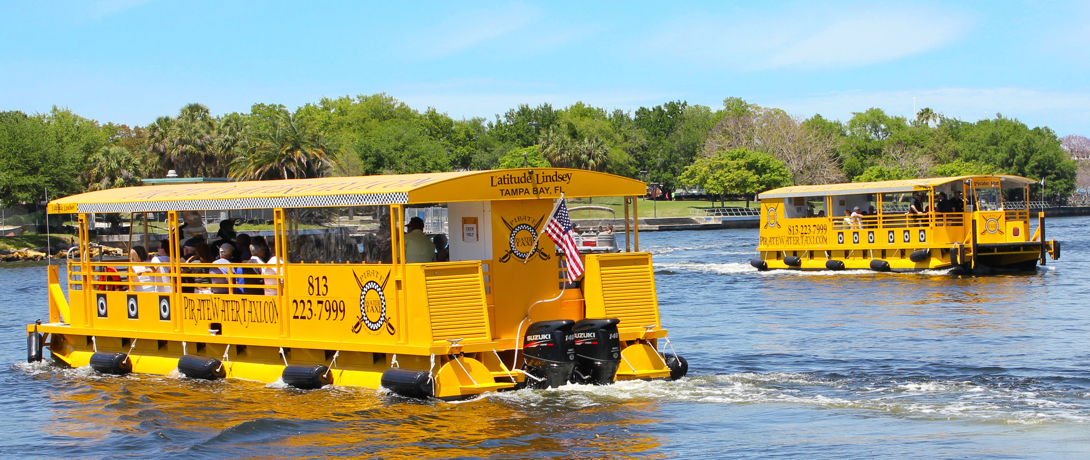 Pirate Water Taxis passing each other