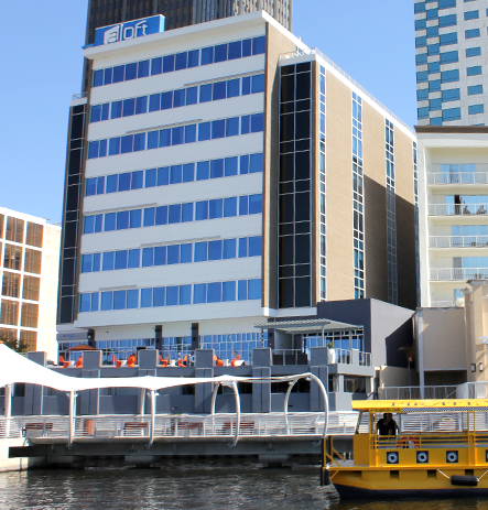 Aloft Hotel from the water