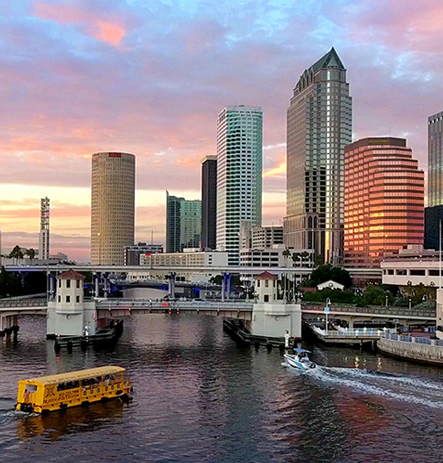 Pirate Water Taxi in Downtown Tampa at Sunset
