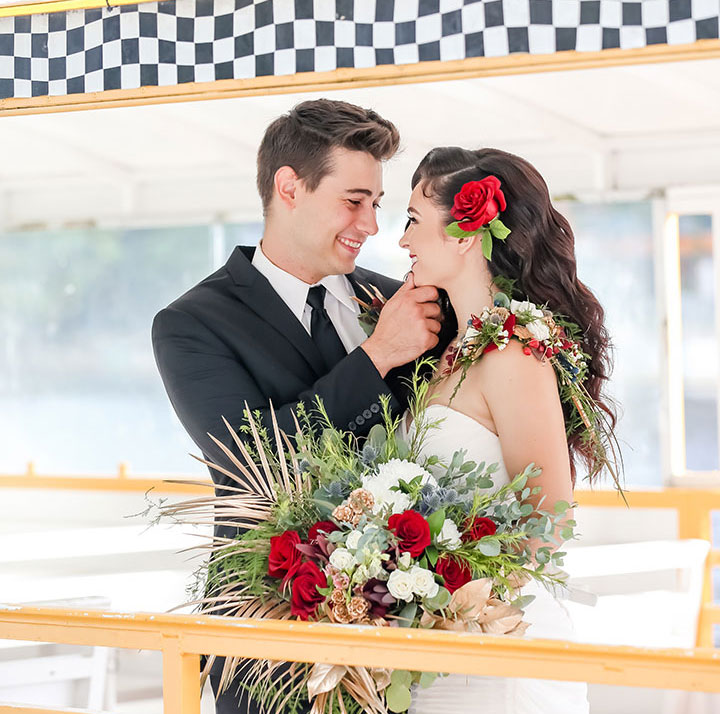 Wedding couple on Pirate Water Taxi
